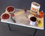 miniature table showing pastry making