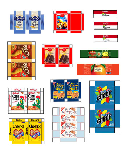 a selection of miniature printable grocery items